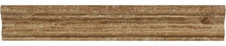 "2""x12"" Noce Tic Vein-Cut Travertine Crown Molding Honed Set of 50"