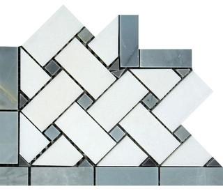 "4""x4"" Thassos Ephesus Basketweave Corner With Blue-Gray Dots Honed Set of 200"