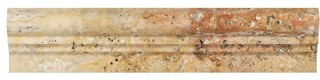 "2.5""x12"" Honed Scabos Travertine Double-Step Chair Rail Trim Set of 40"