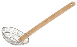 Helen Chen's Asian Kitchen Stainless Steel Spider Strainer Bamboo Handle 7""