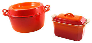 Le Creuset  Enameled Cast Iron Doufeu and Stoneware Pate Terrine Set Flame