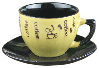 Yellow Special Stylish Coffee Cup With A Plate Coffee Mug 250Ml