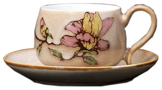 Special Coffee Cup Hand Painted Floral Coffee Mug Beige