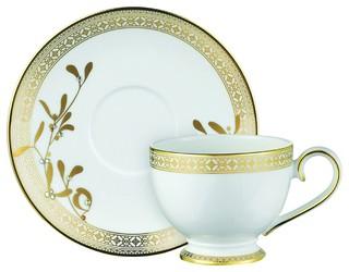 Prouna Golden Leaves Tea Cup/Saucer 8.5 Oz