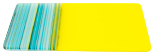 Bright Yellow and Blue Glass Cheese Plate