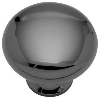 "Solid Brass Knob 1-1/4"" Diameter Black Nickel"