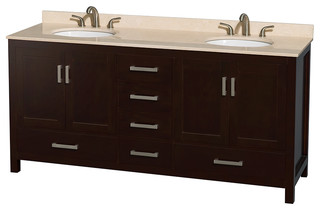"Sheffield 72"" Espresso Double Vanity Ivory Marble Top and Undermount Oval Sink"