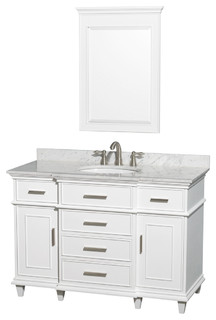 """Wyndham Collection 48"""" Berkeley White Single Vanity and Carrera Marble Top"""