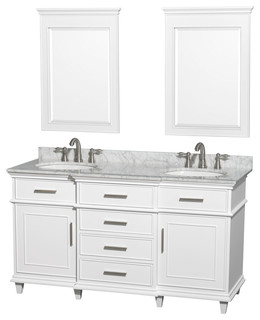 """Wyndham Collection 60"""" Berkeley White Double Vanity and Carrera Marble Top"""