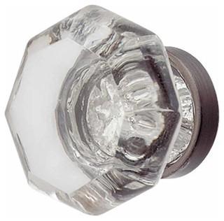 Cabinet Knob Crystal 1 Dia Pewter Back