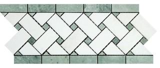 Greek Thassos Basketweave Border W Ming Green Dots 4 3/4x12 Honed 5 Pieces