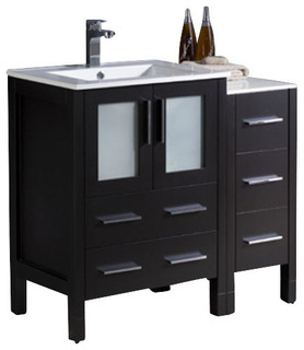"36"" Single Sink Vanity Espresso Integrated White Ceramic Sink No Faucet"