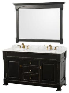 "Andover 60"" Vanity White Sinks 56"" Mirror Antique Black White Carrera Marble"