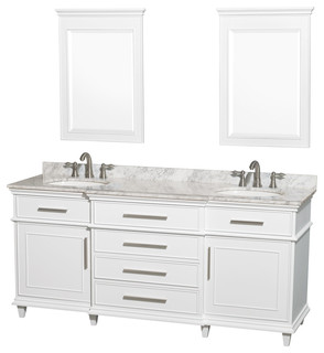 "Berkeley 72"" Double Vanity White White Carrera Marble 24"" Mirrors"
