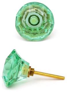 Glass Knobs Light-Green Glass Diamond Set of 2