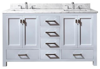 60 in. Modern Double Vanity in White Finish