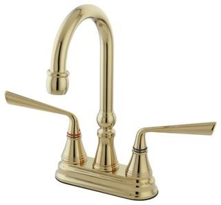"Polished Brass Silver Sage Two Handle 4"" Centerset Bar Faucet KS2492ZL"