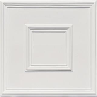 "Town Square Faux Tin Ceiling Tile White Matte 24""x24"""