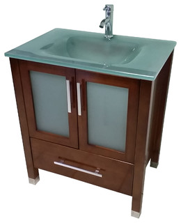 "30"" Modern Bathroom Vanity - Mahogany Finish"