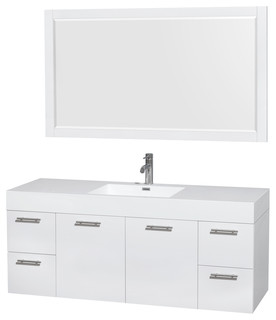 "Amare 60"" Glossy White Vanity 58"" Mirror Integrated Acrylic-Resin"