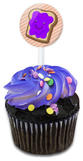 Cute Jelly Toast Cupcake Toppers Picks Set