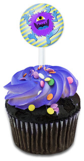 Cute Purple Fuzzy Monster Cupcake Toppers Picks Set
