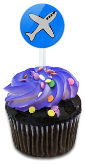 Plane Airplane Travel Flying Cupcake Toppers Picks Set