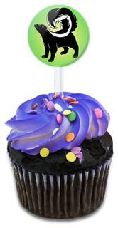 Skunk Cupcake Toppers Picks Set