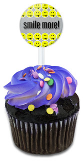 Smile More! It Just Looks Better On You Cupcake Toppers Picks Set