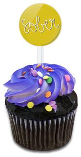 Sober Handwritten Cupcake Toppers Picks Set