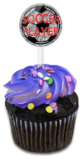Soccer Player Sports On The Field Cupcake Toppers Picks Set