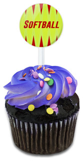 Softball Let's Play Cupcake Toppers Picks Set