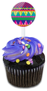 Southwestern Hipster Colorful Pattern Cupcake Toppers Picks Set