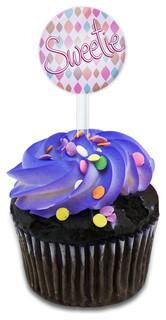 Sweetie Handwritten Cupcake Toppers Picks Set