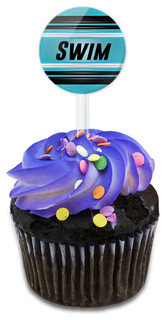 Swim As Fast As You Can Cupcake Toppers Picks Set