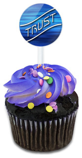 Trust Blue Waves Clouds Cupcake Toppers Picks Set