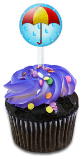 Umbrella In Rain Cupcake Toppers Picks Set