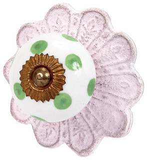 Polka Dot Ceramic Knob Pink and Green