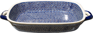 Polish Pottery Baking Dish with Handles Pattern Number: 120