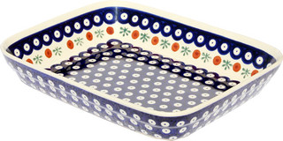 "Polish Pottery Baking Dish 8""x10"" Pattern Number: 41"