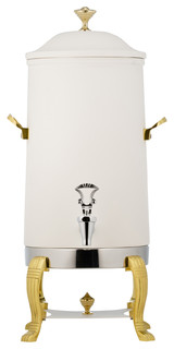 Aurora Insulated Coffee Urn With Brass Trim Bianco Finish