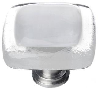 Reflective Blue-Grey Knob Satin Nickel Base