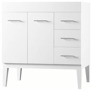 """Ronbow 36"""" Venus Solid Wood Vanity Base Cabinet White Doors on Left"""