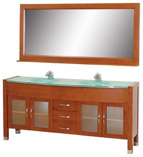 "Daytona 71"" Double Bathroom Vanity 71"" Mirror Cherry Green Glass Top"