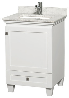 "Acclaim 24"" Bathroom Vanity Square Sink White No Mirror White Marble Top"