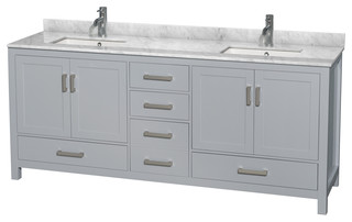 "Sheffield 80"" Double Vanity Gray Carrera Marble Top Undermount Square Sinks"
