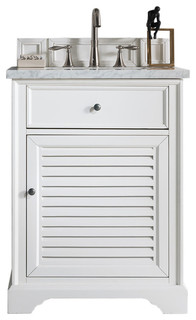 "Savannah 26"" Cottage White Single Vanity 3cm Snow White Quartz Top"