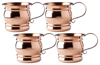 "Set of 4 4"" H Solid Copper Moscow Mule Mug With Flat Handle 16 oz. All Coppe"