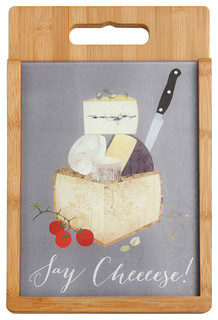 Say Cheese - Wood and Glass Cutting Board Set