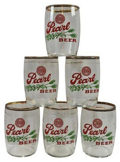 Consigned Vintage Pearl Beer Barrel Glasses Set of 6